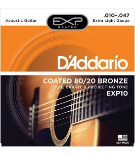 D'ADDARIO EXP10 COATED 80/20 BRONZE .010-.047