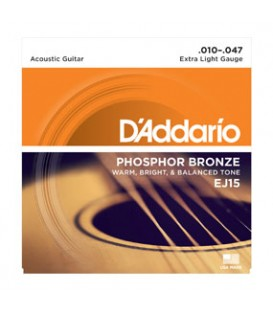 D'ADDARIO EJ 15 PHOSPHOR BRONZE X LIGHT 10/47